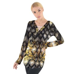 Black Zig Zag Blurred On Gold Crush Flowers By Flipstylez Designs Tie Up Tee
