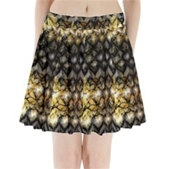 Black Zig Zag Blurred On Gold Crush Flowers By Flipstylez Designs Pleated Mini Skirt