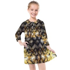 Black Zig Zag Blurred On Gold Crush Flowers By Flipstylez Designs Kids  Quarter Sleeve Shirt Dress