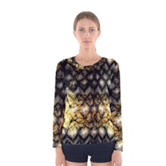 Black Zig Zag Blurred On Gold Crush Flowers By Flipstylez Designs Women s Long Sleeve Tee