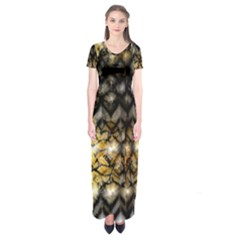 Black Zig Zag Blurred On Gold Crush Flowers By Flipstylez Designs Short Sleeve Maxi Dress