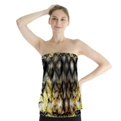 Black Zig Zag Blurred On Gold Crush Flowers By Flipstylez Designs Strapless Top