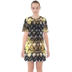 Black Zig Zag Blurred On Gold Crush Flowers By Flipstylez Designs Sixties Short Sleeve Mini Dress