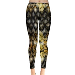 Black Zig Zag Blurred On Gold Crush Flowers By Flipstylez Designs Inside Out Leggings by flipstylezdes