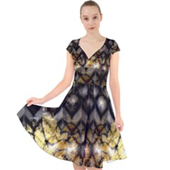 Black Zig Zag Blurred On Gold Crush Flowers By Flipstylez Designs Cap Sleeve Front Wrap Midi Dress by flipstylezdes