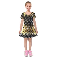 Black Zig Zag Blurred On Gold Crush Flowers By Flipstylez Designs Kids  Short Sleeve Velvet Dress