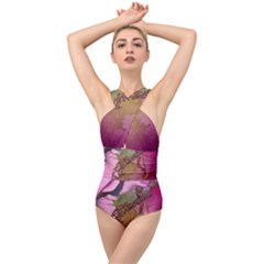 Flowers In Soft Violet Colors Cross Front Low Back Swimsuit