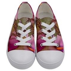 Flowers In Soft Violet Colors Kids  Low Top Canvas Sneakers