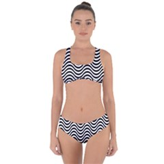 Wave Pattern Wavy Water Seamless Criss Cross Bikini Set