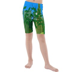 Environmental Protection Kids  Mid Length Swim Shorts
