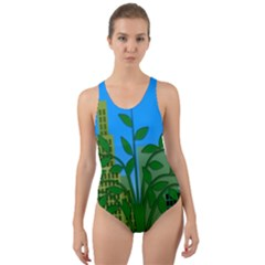 Environmental Protection Cut Out Back One Piece Swimsuit