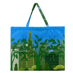Environmental Protection Zipper Large Tote Bag