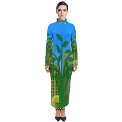 Environmental Protection Turtleneck Maxi Dress