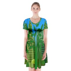 Environmental Protection Short Sleeve V Neck Flare Dress