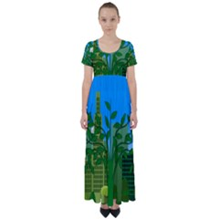 Environmental Protection High Waist Short Sleeve Maxi Dress