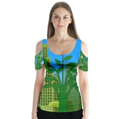 Environmental Protection Butterfly Sleeve Cutout Tee