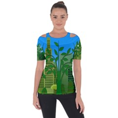 Environmental Protection Shoulder Cut Out Short Sleeve Top