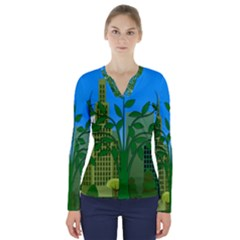 Environmental Protection V Neck Long Sleeve Top
