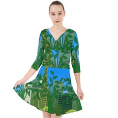 Environmental Protection Quarter Sleeve Front Wrap Dress