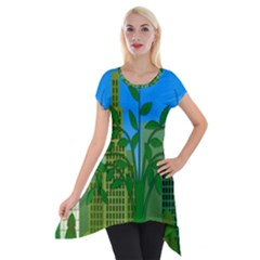 Environmental Protection Short Sleeve Side Drop Tunic