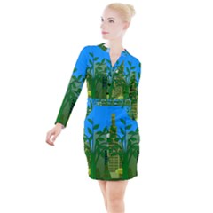 Environmental Protection Button Long Sleeve Dress