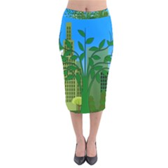 Environmental Protection Velvet Midi Pencil Skirt
