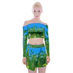 Environmental Protection Off Shoulder Top With Mini Skirt Set