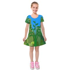 Environmental Protection Kids  Short Sleeve Velvet Dress