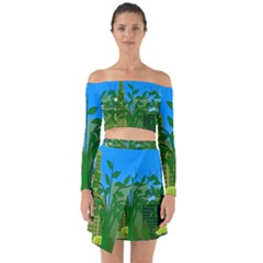 Environmental Protection Off Shoulder Top With Skirt Set