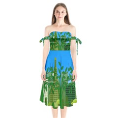 Environmental Protection Shoulder Tie Bardot Midi Dress