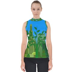 Environmental Protection Mock Neck Shell Top