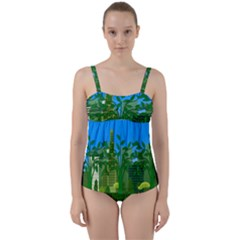 Environmental Protection Twist Front Tankini Set