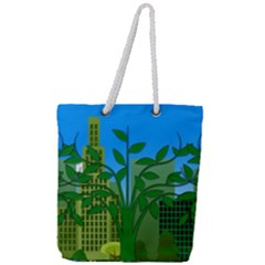 Environmental Protection Full Print Rope Handle Tote (large)