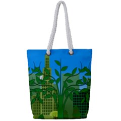 Environmental Protection Full Print Rope Handle Tote (small)