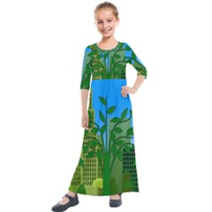 Environmental Protection Kids  Quarter Sleeve Maxi Dress