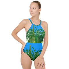 Environmental Protection High Neck One Piece Swimsuit