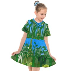 Environmental Protection Kids  Short Sleeve Shirt Dress