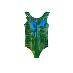 Environmental Protection Kids  Frill Swimsuit
