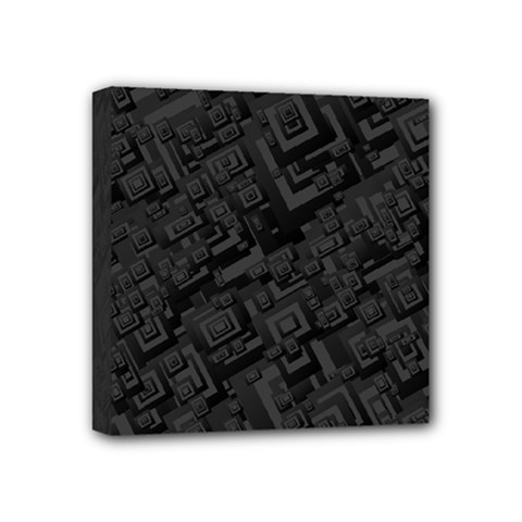 Black Rectangle Wallpaper Grey Mini Canvas 4  X 4  (stretched)