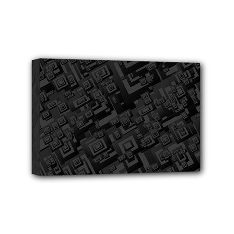Black Rectangle Wallpaper Grey Mini Canvas 6  X 4  (stretched)