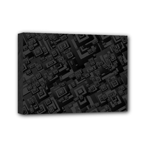 Black Rectangle Wallpaper Grey Mini Canvas 7  X 5  (stretched)