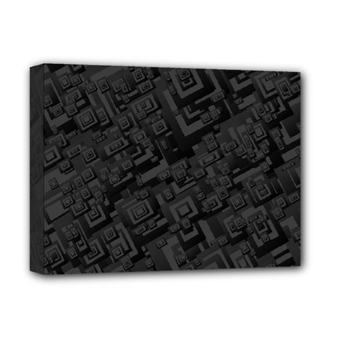 Black Rectangle Wallpaper Grey Deluxe Canvas 16  X 12  (stretched)