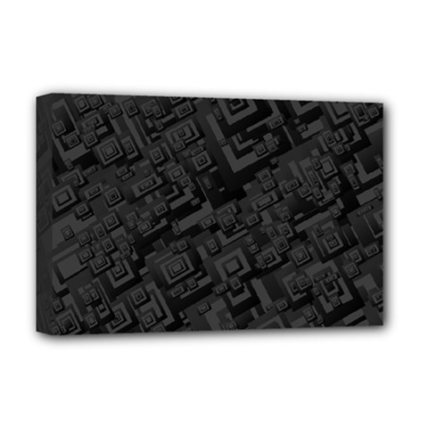 Black Rectangle Wallpaper Grey Deluxe Canvas 18  X 12  (stretched)