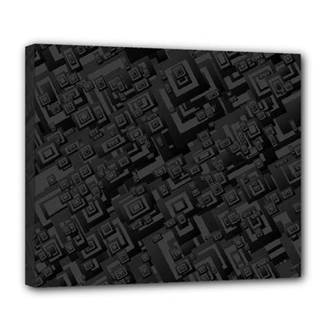 Black Rectangle Wallpaper Grey Deluxe Canvas 24  X 20  (stretched)
