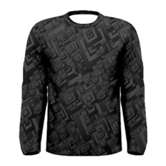 Black Rectangle Wallpaper Grey Men s Long Sleeve Tee