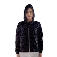 Black Rectangle Wallpaper Grey Hooded Windbreaker (women)