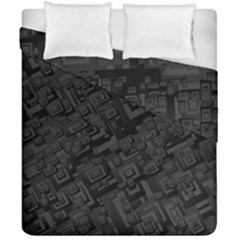 Black Rectangle Wallpaper Grey Duvet Cover Double Side (california King Size)