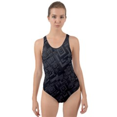 Black Rectangle Wallpaper Grey Cut Out Back One Piece Swimsuit