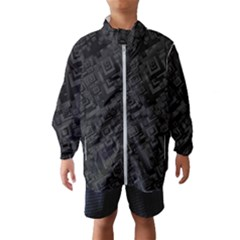 Black Rectangle Wallpaper Grey Windbreaker (kids)