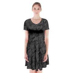 Black Rectangle Wallpaper Grey Short Sleeve V Neck Flare Dress